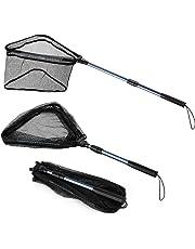 Magreel Retino da Pesca con Manico telescopicoin Lega di Alluminio Guadino Pesca Pieghevole in Nylon Rete