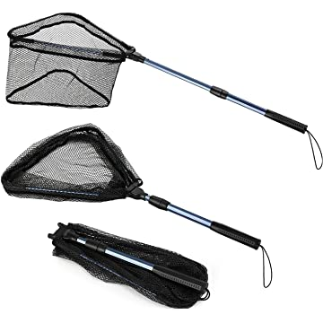 Magreel Fish Landing Net,Portable Trout Catching Releasing Fishing Net with Collapsible Telescopic Pole Handle,Durable Nylon Mesh Fish Catching Net
