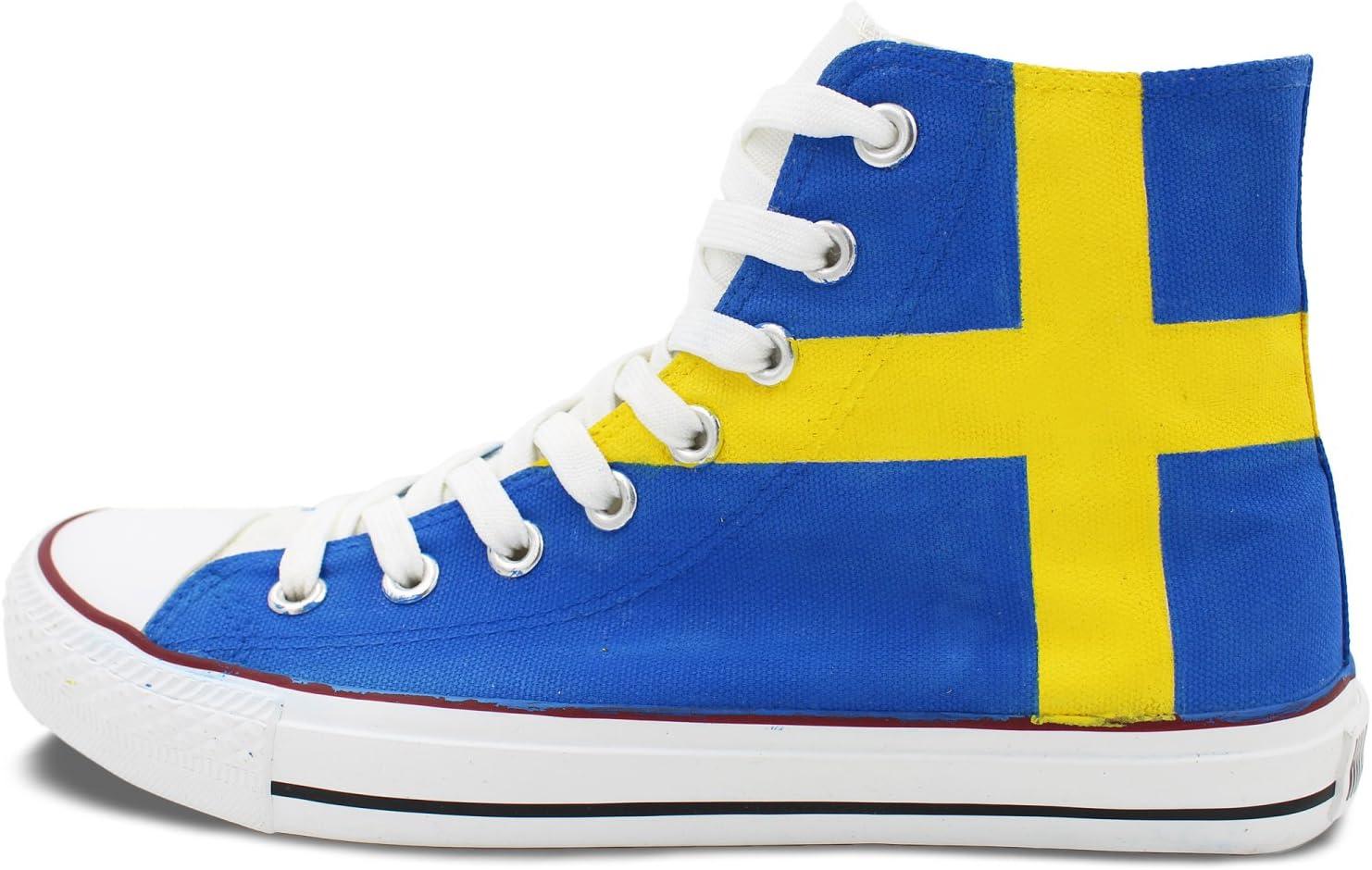Wen diseño pintado a mano bandera de Suecia Casual zapatos High Top – Zapatillas de lona: Amazon.es: Deportes y aire libre