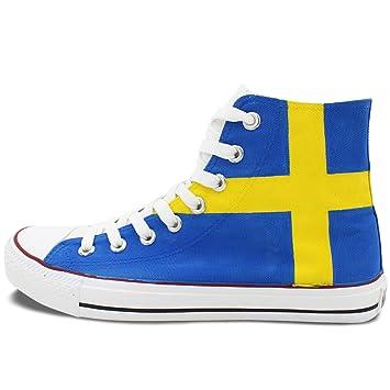 Wen diseño pintado a mano bandera de Suecia Casual zapatos High Top - Zapatillas de lona: Amazon.es: Deportes y aire libre