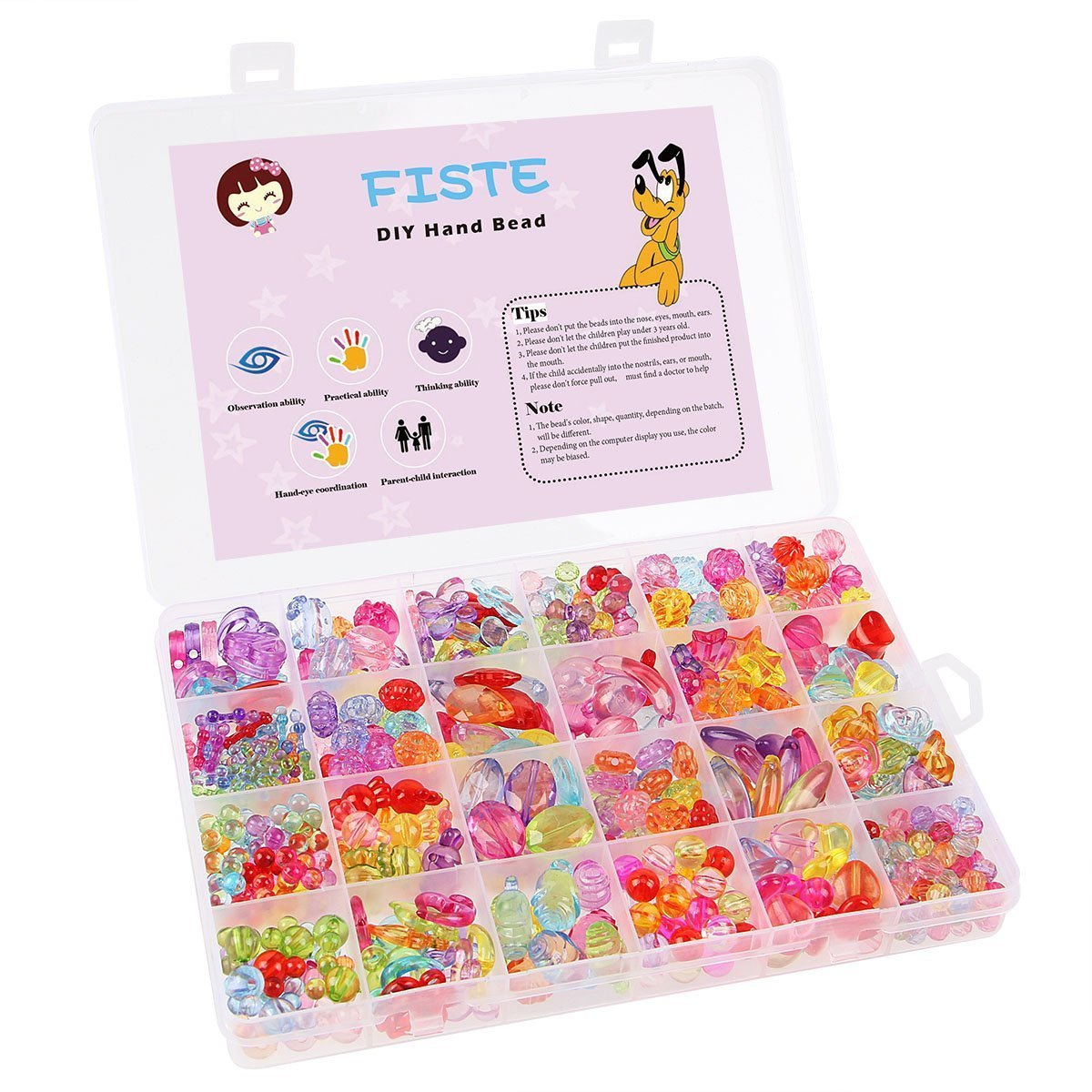 FISTE 24 Lattices Colorful Acrylic DIY Children's Hair Beaded Hand-made Hairpin Girls Toys Jewelry Wristband Maker for Children Necklace and Bracelet Great Gift