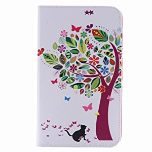 For Samsung Galaxy Tap 4 7.0 / T230 Case, Ougger Tree Cat Printing Wallet Cover Card Slot Premium PU Leather Flip Case Magnetic Bumper Pouch Holster Stand-View Function (Art Tree)