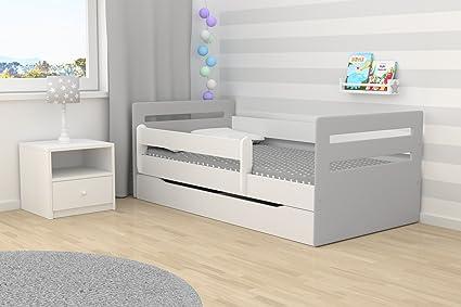 Cama infantil Tomi 80 x 180 cm con barrera de seguridad, somier + cajones + colchón, color gris