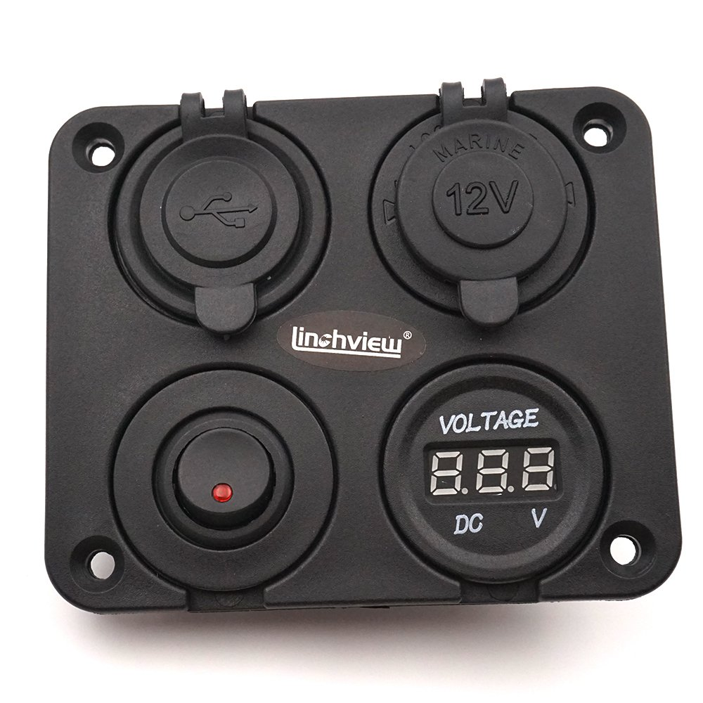Linchview Dual USB Charger LED Voltmeter 12 V Switch Panel Socket 4 Hole Button On//Off Switch for Car Boat Marine Commercial Vehicles Motorcycle RV ATV Vehicles GPS Mobile Phone Camera MP3