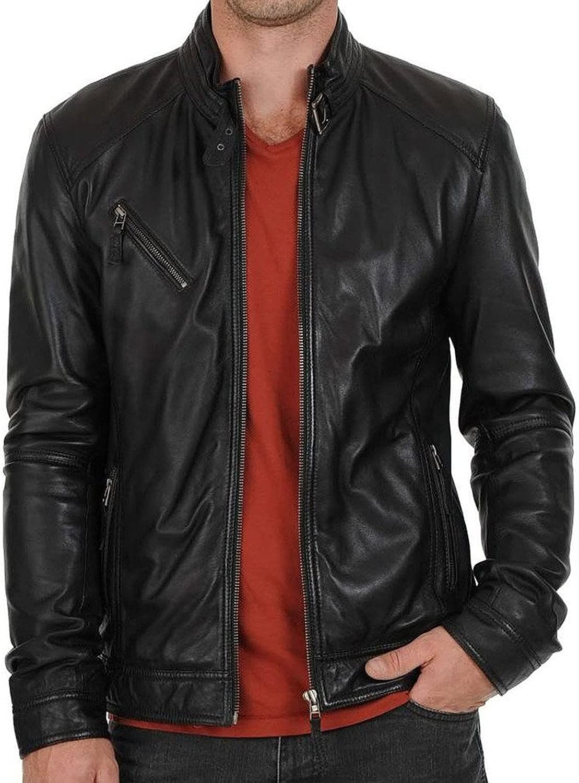Kingdom Leather New Mens Leather Jacket Black Slim Fit Biker Motorcycle Genuine Leather Coat XC545