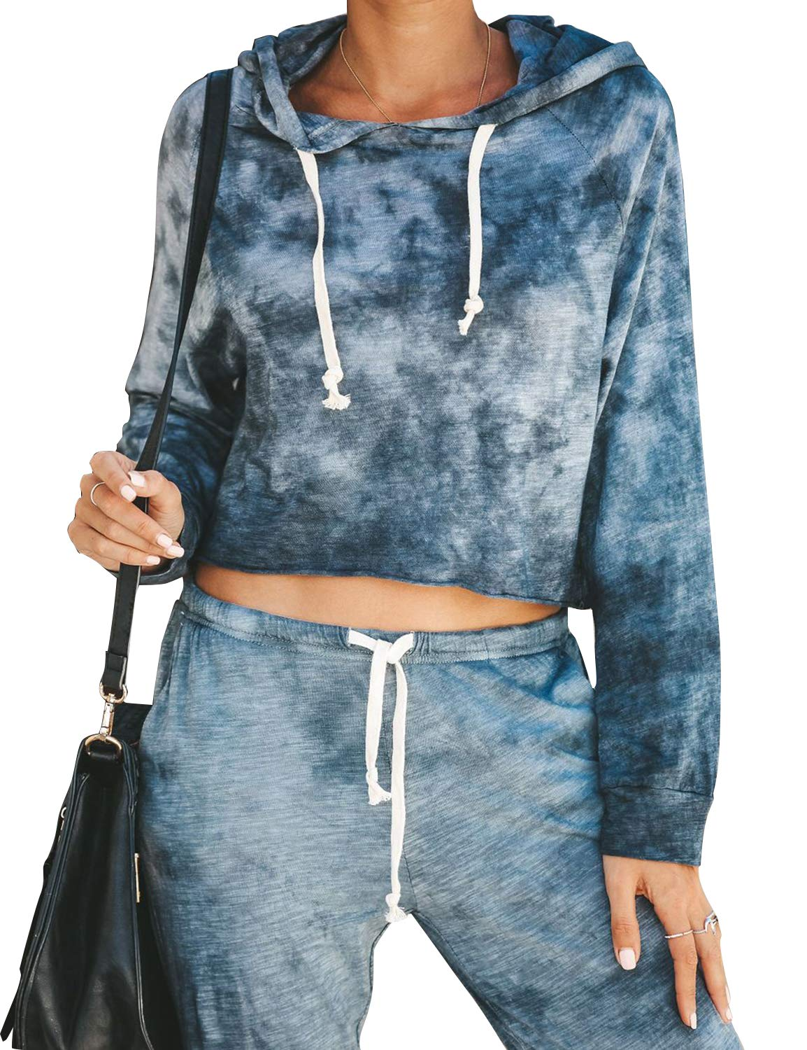 Blooming Jelly Womens Long Sleeve Tie Dye Top Pullover Sweatshirt Hoodies Blue