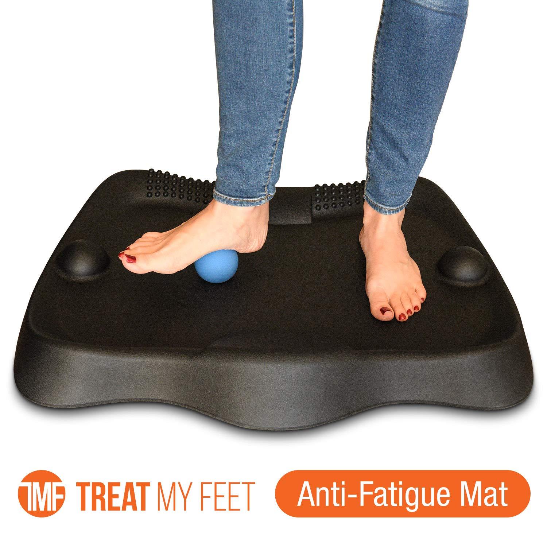 Anti Fatigue Standing Desk Mat w/FREE Rolling Massage Ball - Cushioned Floor Kitchen Mat