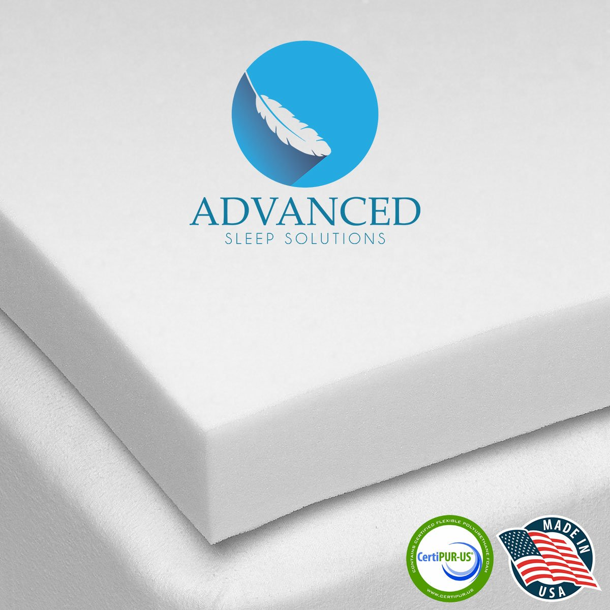 Advanced Sleep Solutions Memory Foam Mattress Topper 2'' Inch UltraComfort California King MediumSoft Support Pad CertiPUR-US Approved by Advanced Sleep Solutions