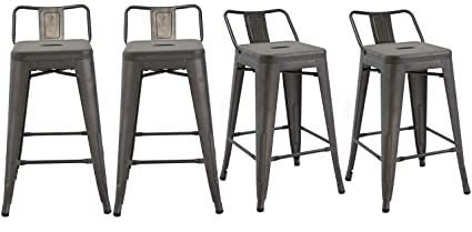 Enjoyable Btexpert Industrial 30 Inch Rustic Distressed Kitchen Chic Indoor Outdoor Low Back Metal Bar Stool 4Pc Creativecarmelina Interior Chair Design Creativecarmelinacom