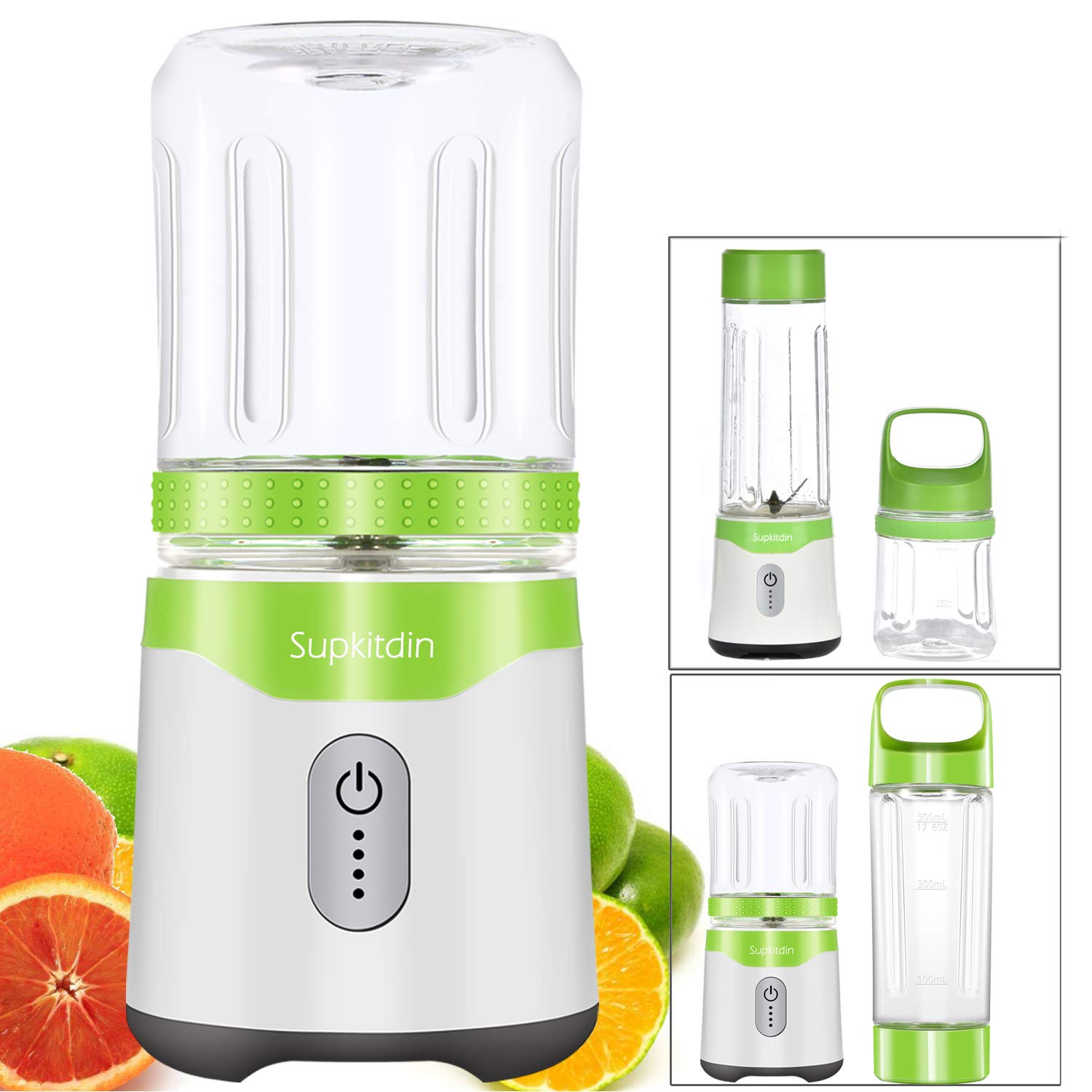 Personal Blender, Supkitdin Portable Blender for Shakes and Smoothies,With 2 FDA Approved Cups, Rechargeable, Powerful 6 Blades for Superb Mixing HuiTai HTPB001