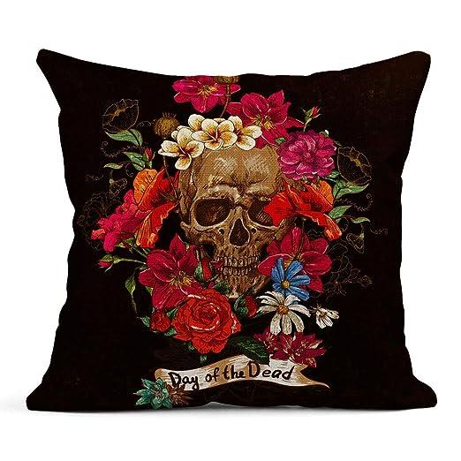 Kinhevao Cojín Colorido Día Cráneo y Flores Tatuaje Rojo Muerto ...