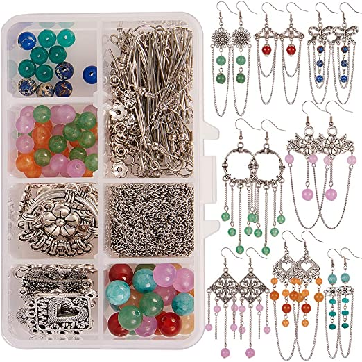 SUNNYCLUE 1 Box DIY 8 Pairs Chandelier Earring Jewellry Making Kit Tibetan Style Circle Long Chain Tassel Beads Chandelier Earrings Natural Gemstone Beads Antique