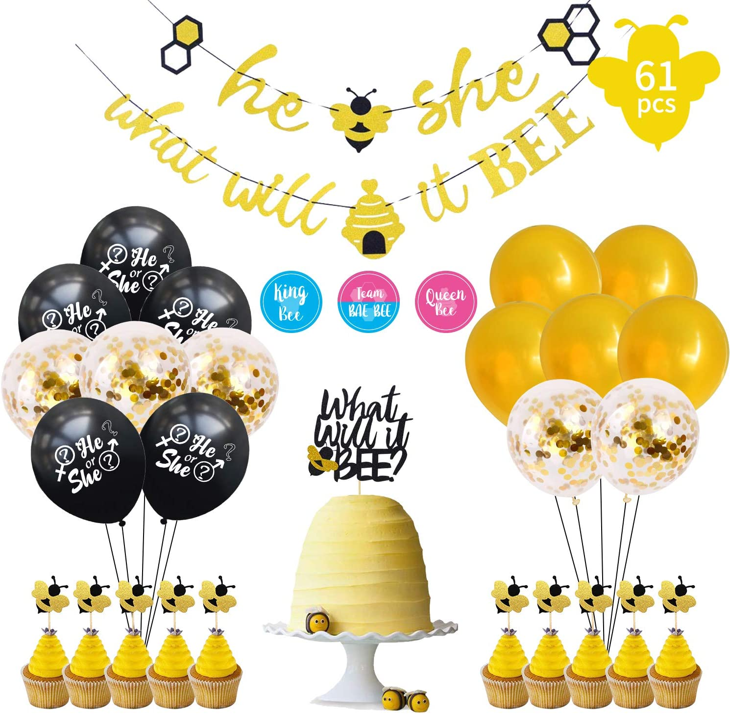 Updated New What Will It Bee Gender Reveal Party Supplies Set | Bumble Bee He or She Baby Shower Banner, Cake Topper, Balloons | Free 24 Team Boy or Girl Labels | Themed Baby Shower Decorations