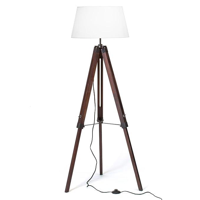 Diseño lámpara de pie trípode con pantalla de tela, Madera Telekop trípode de madera, 1 x E27 máximo 60 W, H 145 cm, diámetro de 45 cm, de ...