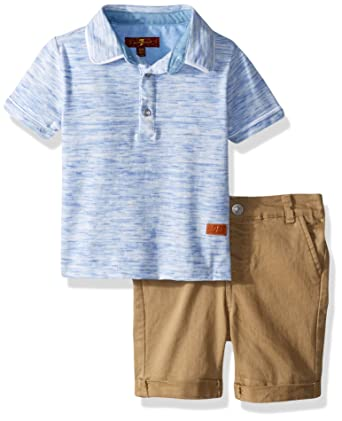 7c8d34fef Amazon.com: 7 For All Mankind Baby Boys Space Dye Henley T-Shirt and Twill Short  Set: Clothing