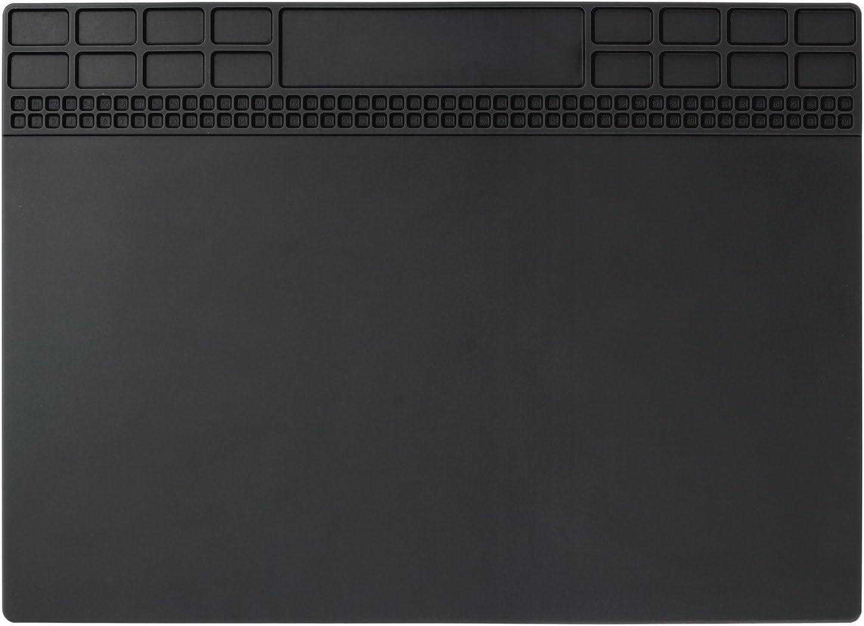 Soldering Mat, Premium Magnetic Silicone Repair Mat, Heat Resistant 932°F Electronics Mat for Cellphone, Laptop, Computer, Solder Station Repair 13.8''x9.8'' Black