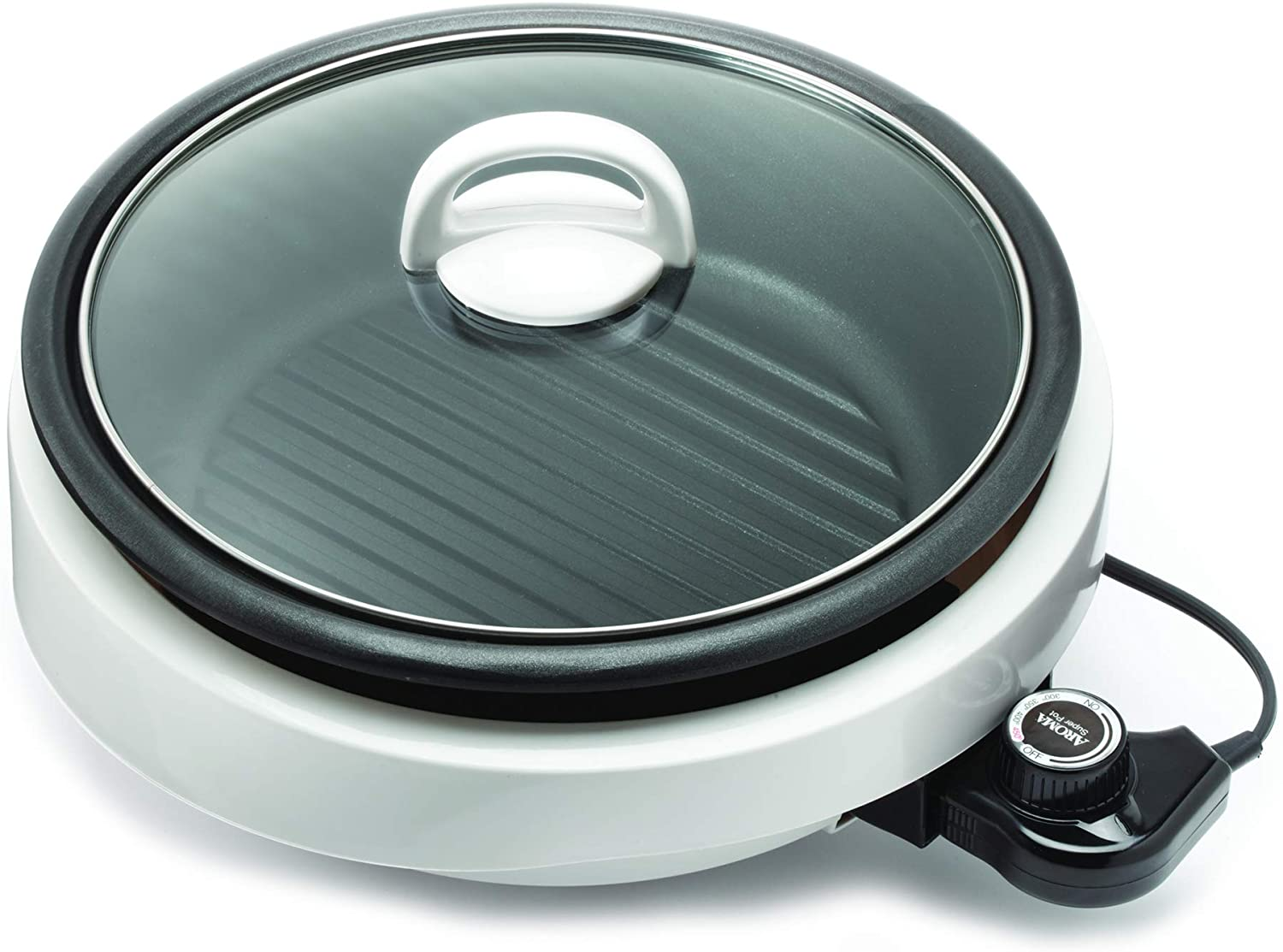 Aroma Housewares ASP-137 Grillet 3Qt. 3-in-1 Cool-Touch Electric Indoor Grill Portable, Dishwasher Safe, 3-Quart, White