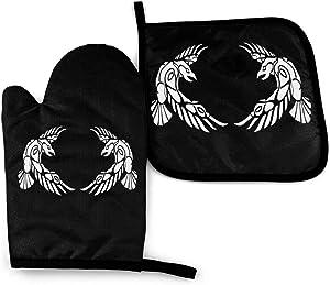 2 Pack Huginn Muninn Odin Thor Viking Norse Wolf Raven Rune Oven Mitts and Pot Holders Sets Cooking Gloves Baking Gloves for BBQ Cooking Baking Grilling
