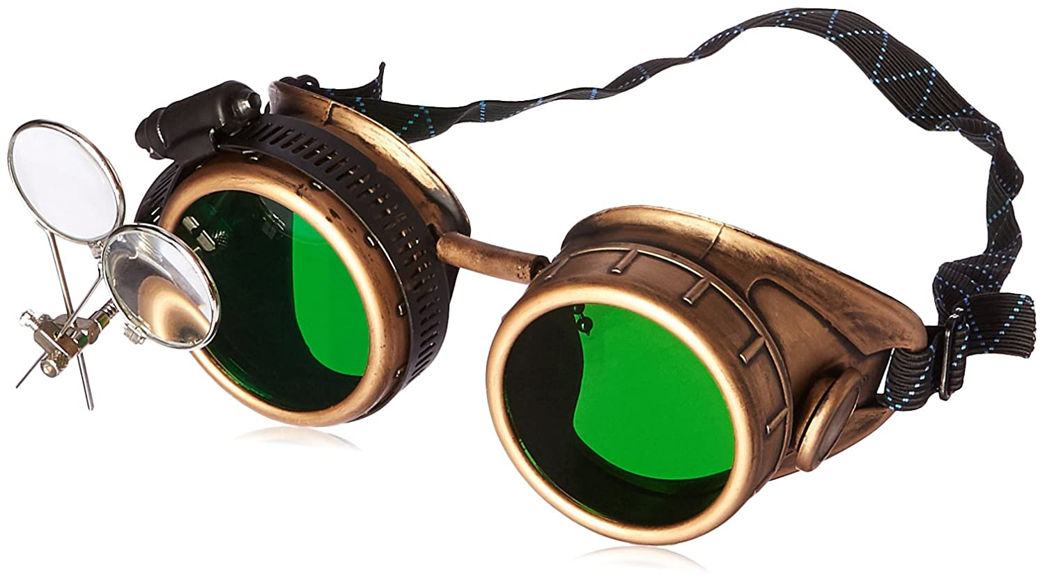OldJunkyardBoutique Victorian Goggles Glasses Antique gold green lens with Double Clip on eye Loupe gold green 1x