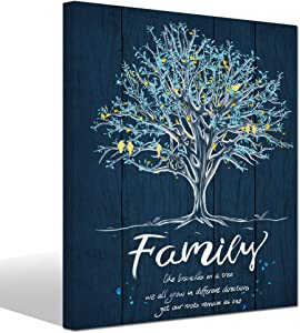 LevvArts - Canvas Quote Wall Art Family Like Branches on a Tree Wall Decor Family Tree Canvas Prints Gallery Wrap Modern Bedroom Decoration