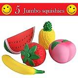 Fishy Squishy Juguetes Jumbo en Forma de Frutas - Melocoton, Sandia, Fresa, Platano y Piña - Divertido Juego de Compresión Antiestrés para Bebes, Niños y Adultos de Cualquier Edad (Pack de 5)