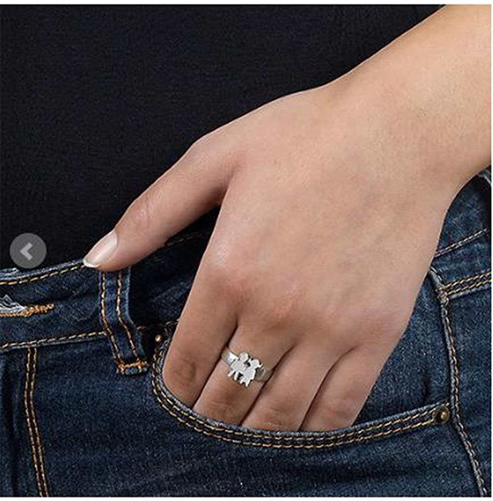 FACOCO Fashion Custom Rings Kids Holding Hands Ring Personalized Name Gift