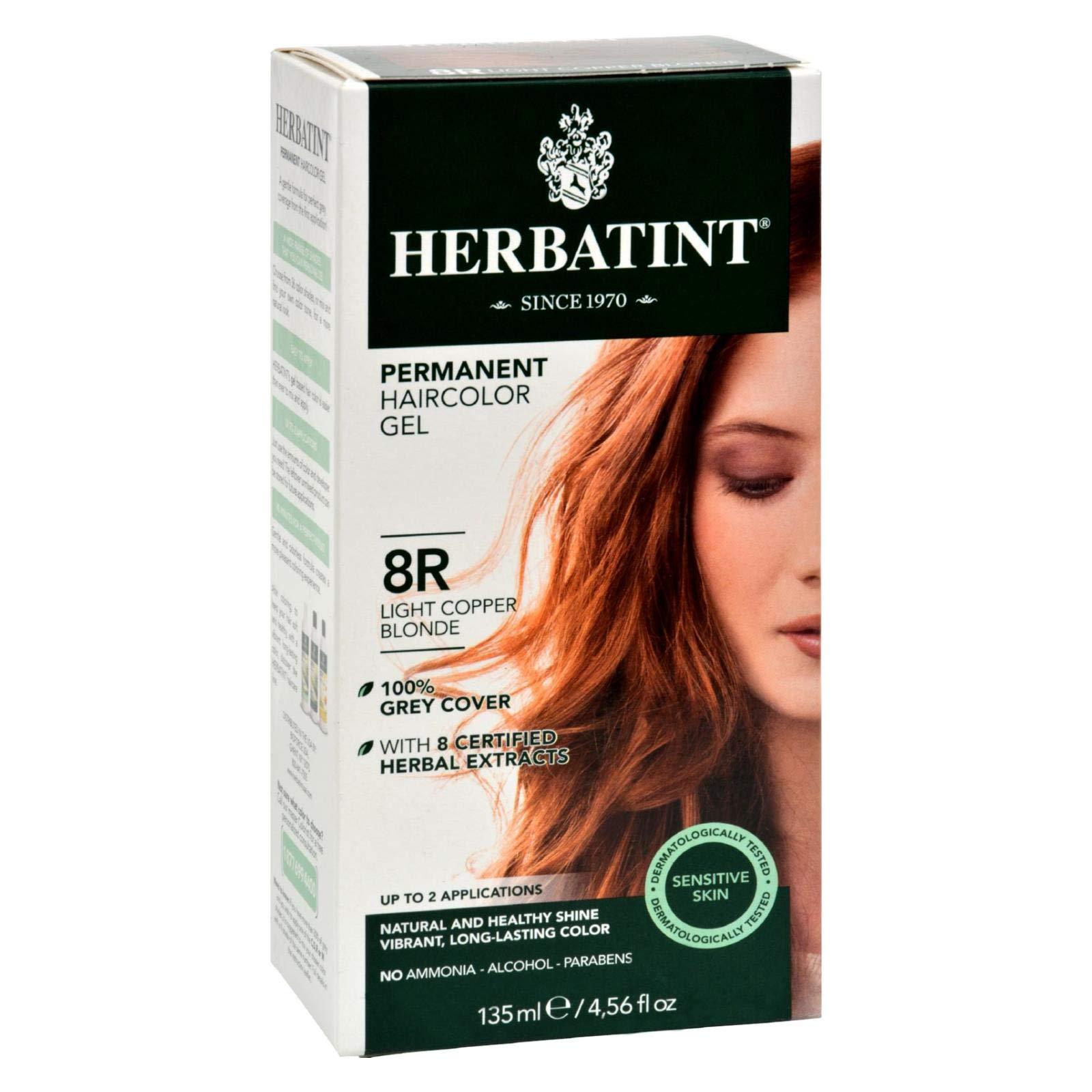 Herbatint 8R Permanent Herbal Copperish Gold Haircolor Gel Kit - 3 per case.