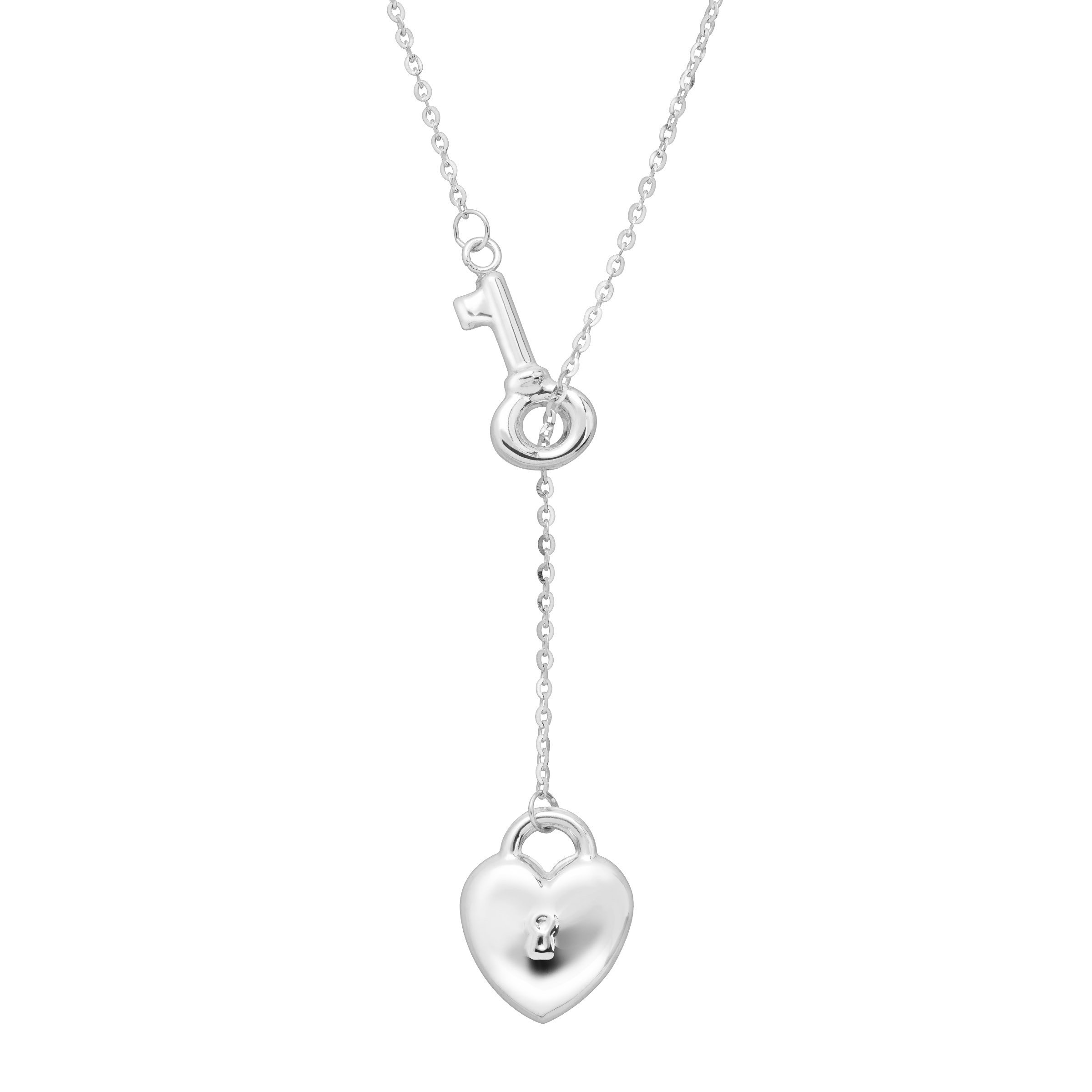 Just Gold Heart Lock & Key Lariat Necklace in 14K White Gold