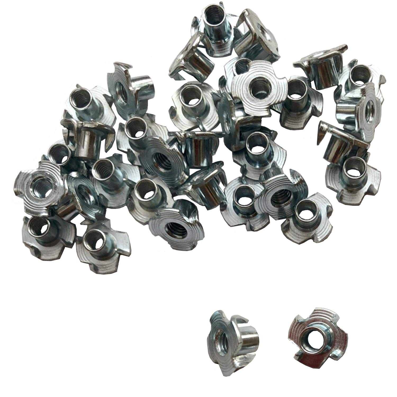 YMAISS T NUT M6 x 10mm 110 Pack 4 Pronged Zinc Plated Tee T Nut Assortment Kit Silver Color for Rock Climbing Holds Wood Cabinetry etc.
