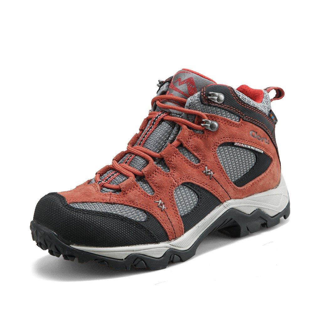 Clorts Women's Suede Uneebtex Mid Waterproof Hiking Boot Outdoor Backpacking Shoe Maroon HKM-820G US8.5