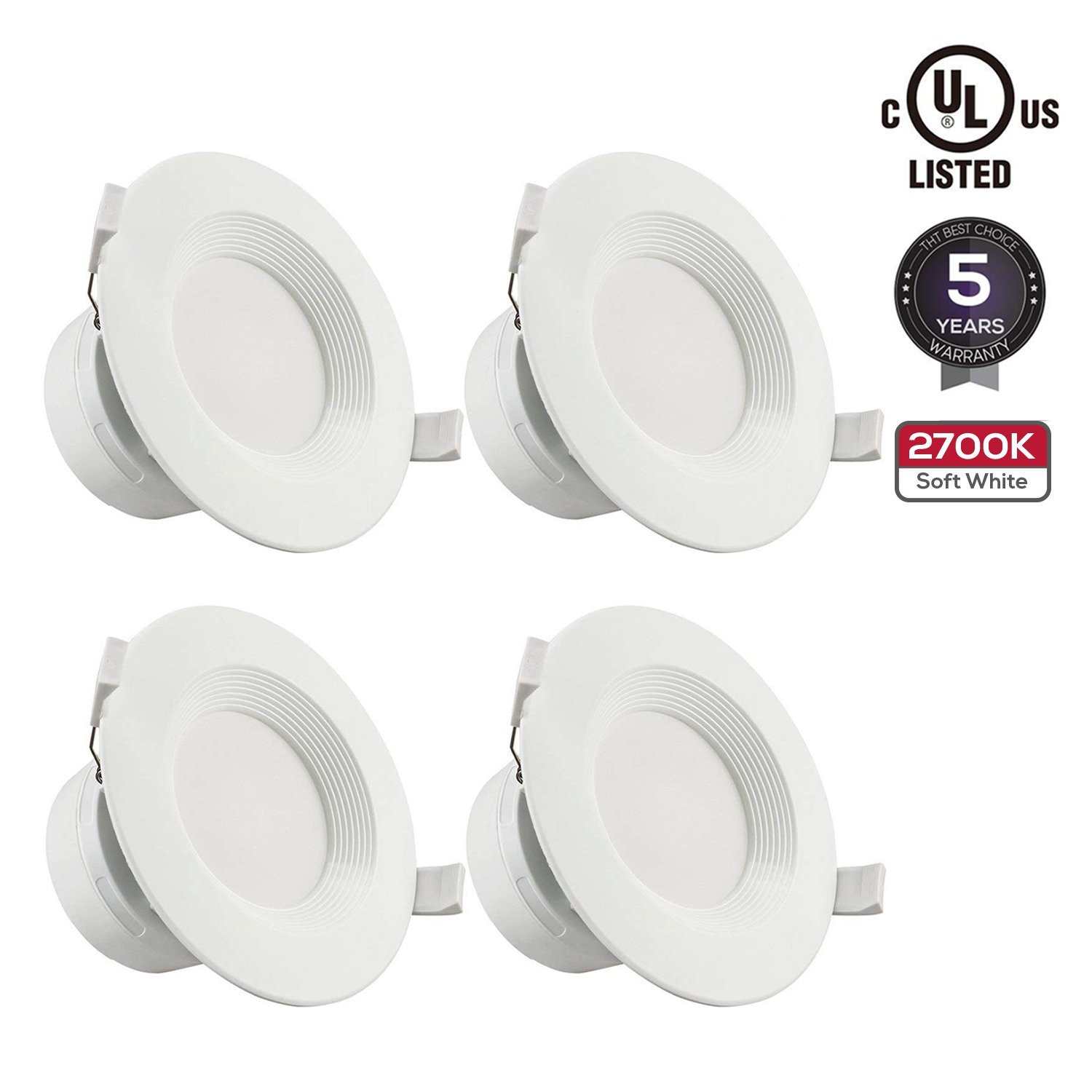 """TORCHSTAR 4 PACK 4""""LED Recessed Downlight with Junction Box, 7W (60W Equivalent) Dimmable LED Ceiling Light Fixture, IC-Rated & Air Tight, Wet Location, 2700K Soft White, UL-listed, 5 Years Warranty"""