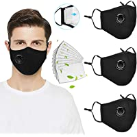 3 Pack Reusable Face_Mask with Breathing Valve, Washable Facemask with 10PC Activated Carbon Filters,Cotton Face Filter…