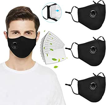 3 Pack Reusable Face_Mask with Breathing Valve, Washable Facemask with 10PC Activated Carbon Filters,Cotton Face Filter with Adjustable Ear Loops, Breathable Facemask for Adult,Outdoor Indoor