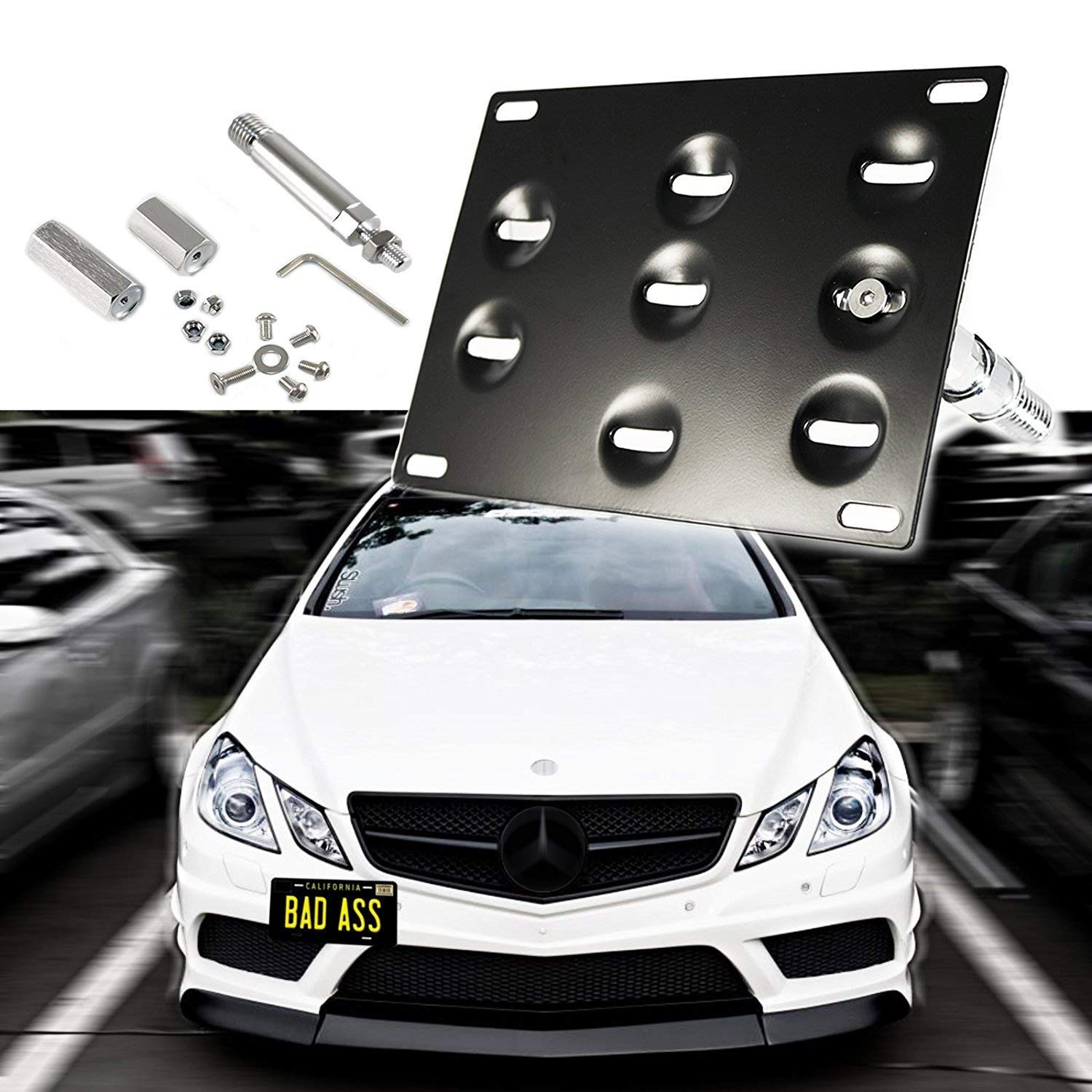 Black 1 Set Front Tow Hook License Plate Bumper Mounting Bracket Fit Mercedes-Benz C E S M GLA GLK CLA ML SL AMG Class