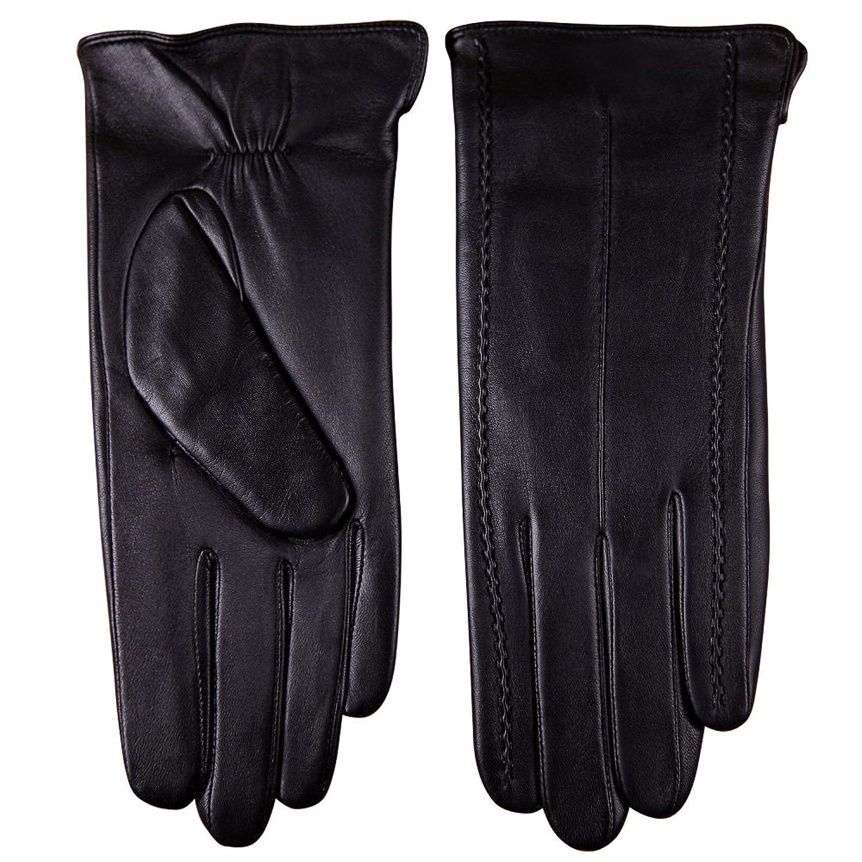 Womens black leather gloves uk - Warmen Classic Women S Geniune Leather Winter Warm Gloves Simple Style