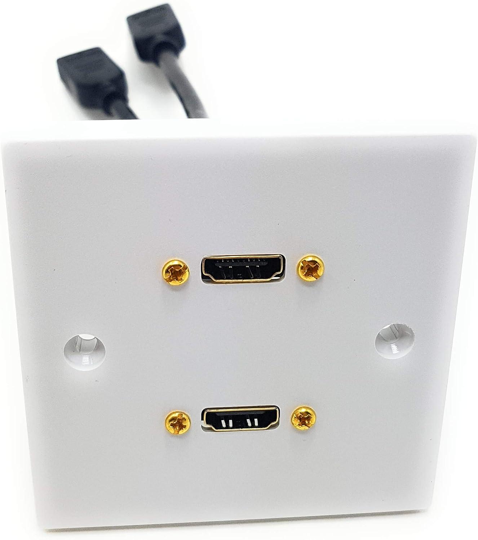 MainCore HDMI - Toma de pared con cable de extensión HDMI 2 Port blanco: Amazon.es: Electrónica
