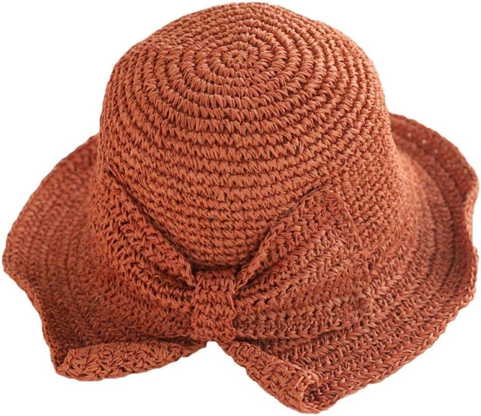 AJIAO Sombrero para El Sol Tejido A Mano 100/% C/ésped Arco Sol Sombrero De ala Ancha Sombrero De Verano Se/ñoras Playa Sombrero De Paja C/úpula Sombrero Sombrero Visera