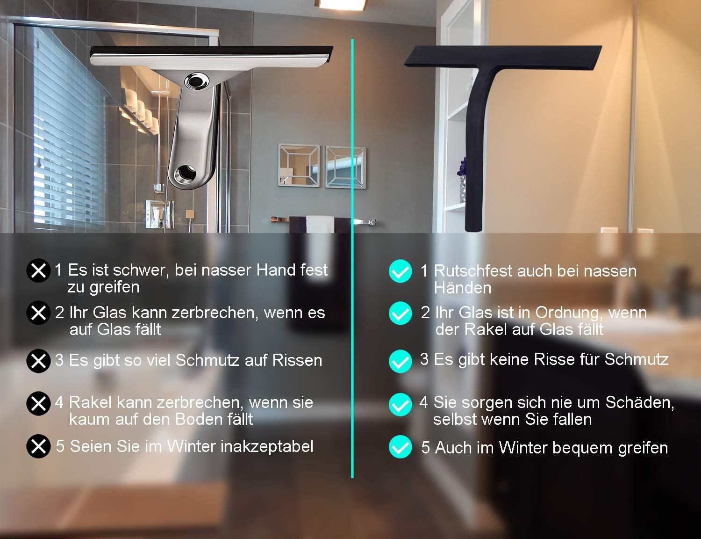 Fensterabzieher mit Edelstahl-Kern-Abzieher Badezimmerwischer f/ür Dusche,Badezimmer,Spiegel,Glas-Reinigung,Fliesen Gobesty Duschabzieher Silikon