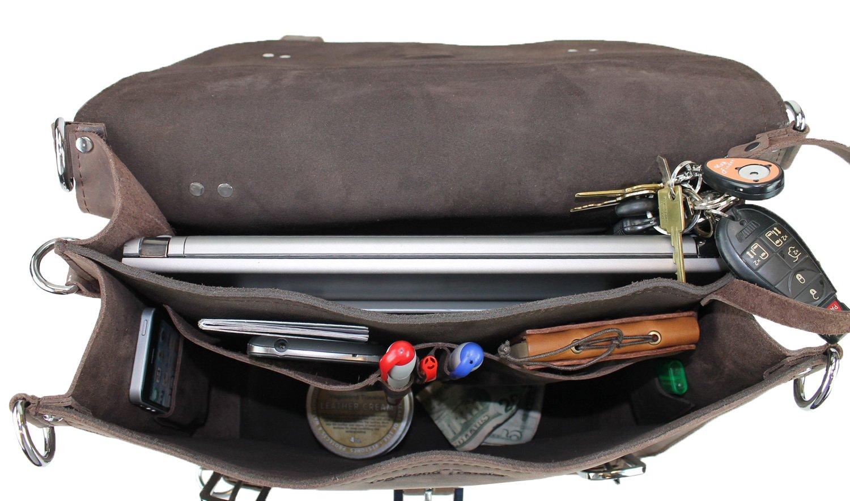 Vintage Full Grain Leather 16 Large Classic Full Gain Leather Briefcase Backpack Dark Vintage Vagabond Traveler L09 Heavy 7LB