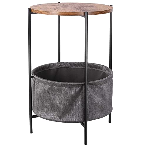 HOMFA Vintage Round End Side Table with Storage Basket Industrial Coffee Table Night Stand Wood Look Accent Furniture with Metal Frame