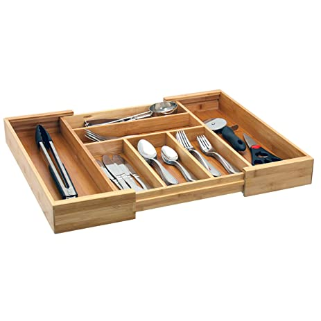 Charming Expandable Bamboo Cutlery Tray / Drawer Organizer / Silverware Storage