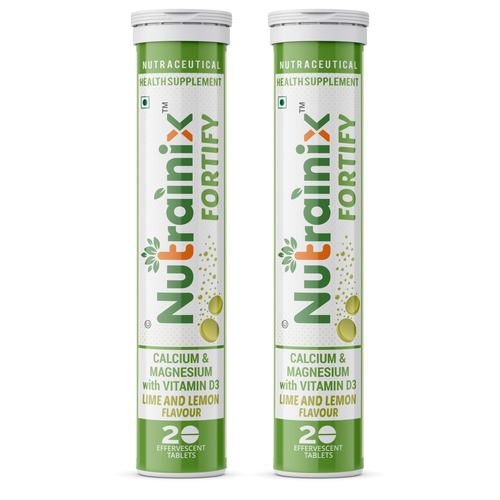Nutrainix fortify Calcium Supplement, 500Mg Elemental Calcium, Vitamin D3 for Complete Bone Health and Support, Effervescent Tablets, Lime and Lemon Flavour, 40 count