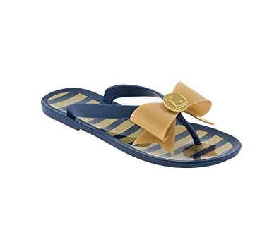 9bc1293ff572 Dark Blue and Vegas Gold Jelly Flip Flops