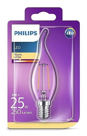 Philips Bombilla LED filamento/retro, efecto Llama, E14, luz blanca cálida Vela