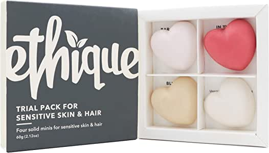 Ethique Eco-Friendly Trial Pack for Sensitive Skin and Hair, 4 Piece Variety Pack Beauty Bar Set, Natural Sustainable Beauty Kit, Plastic Free, Vegan Plant Based, 100% Compostable & Zero Waste, 4 bars
