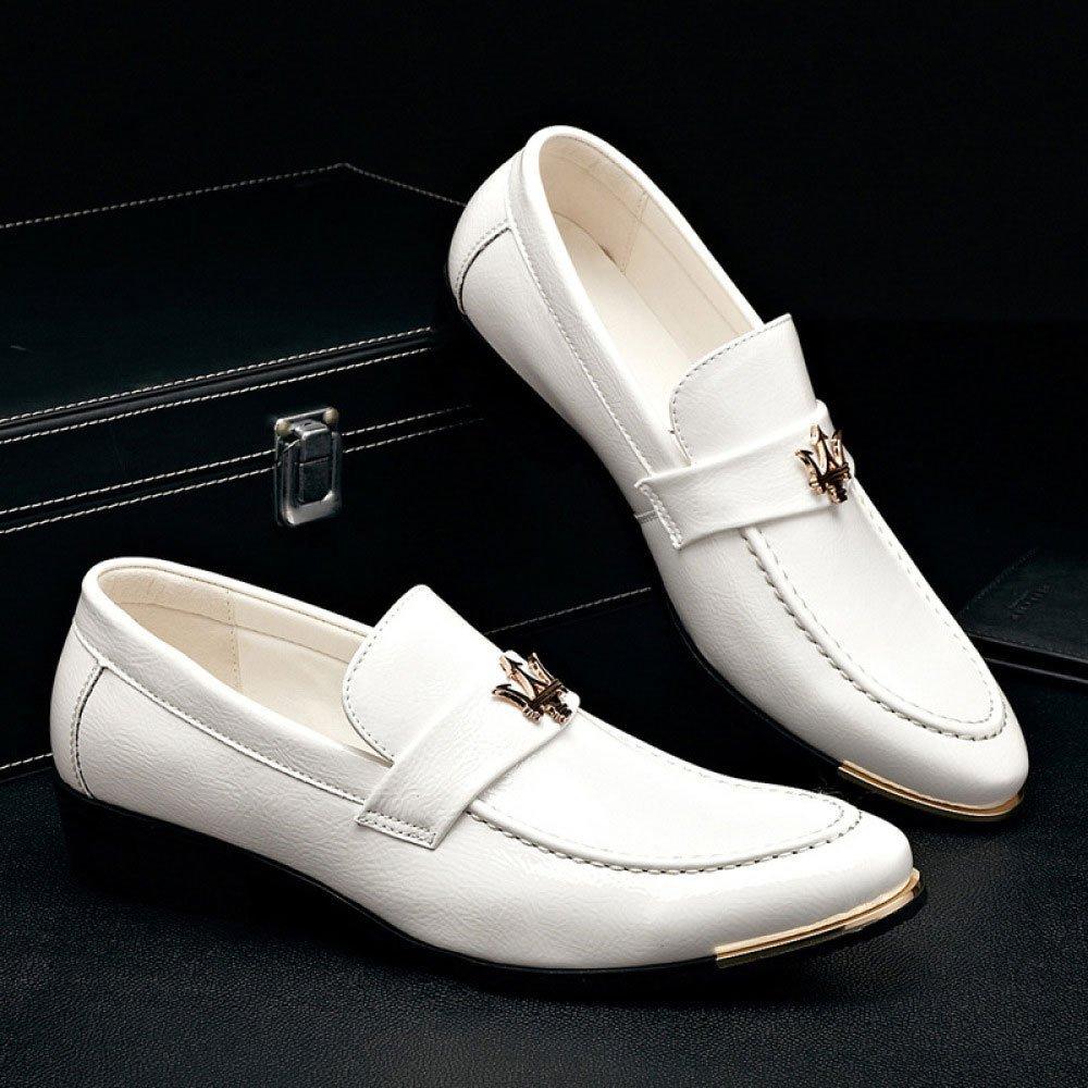 LEDLFIE Männer Leder Business Casual Fashion Bright Leder Männer Herrenschuhe Weiß 116de5