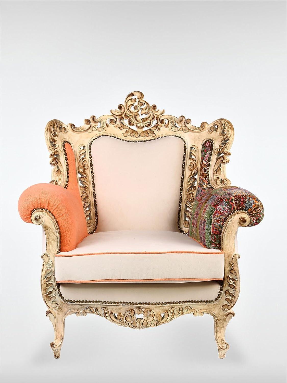 Vintage Sessel Ohrensessel 88 x 84 x 83 cm Wohnzimmersessel bunt gold aus Buchenholz roomeo24®