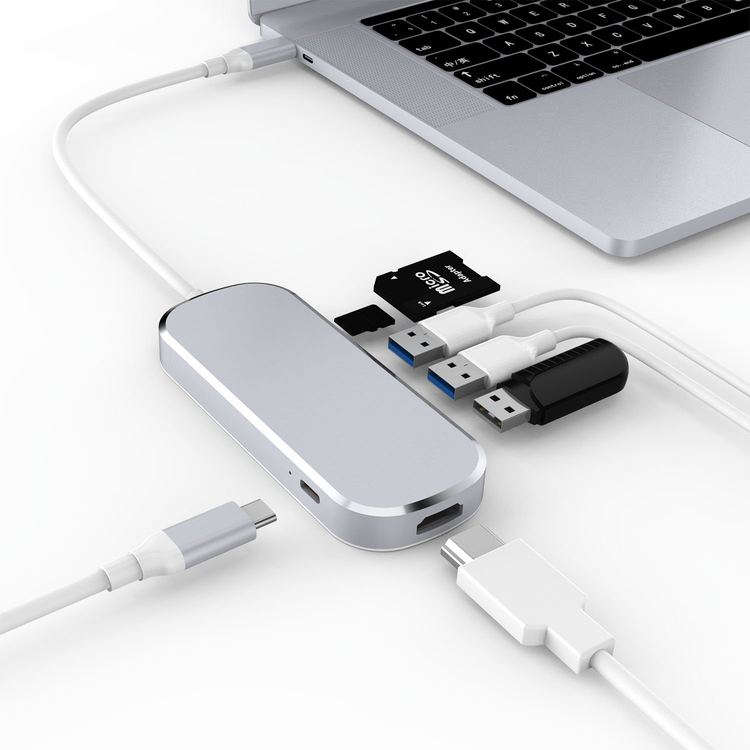 USB C Hub, 6-in-1 Multi Port Adapter with Type C Charging Port, HDMI Port, SD/TF Card Reader, 3 USB 3.0 Ports Aluminum Design for MacBook,SAMSUNG,Chromebook And More Type C Device by Coling