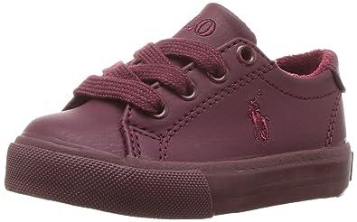 Polo Ralph Lauren Kids Baby Slater Sneaker, Triple Burgundy Tumbled, 4  Medium US Toddler