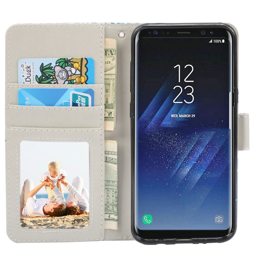 Galaxy S8 Plus Case, UrSpeedtekLive Galaxy S8+ Wallet Case Folio Flip Premium PU Leather Case Cover with Card Holder Slot Pockets, Wrist Strap, Magnetic Closure For Galaxy S8 Plus (2017) Elephant